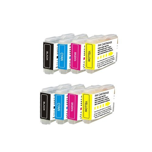 Inkcool 8pack Ink Cartridge LC10 / LC37 / LC51 / LC57 / LC960 / LC970 / LC1000 for Brother (2 Black/2Cyan/2Yellow/2 Magenta)