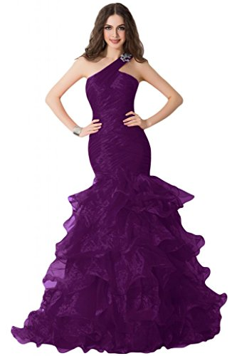 sera vestito Grape Pageant abito spalle da Charming Sunvary Gowns rouches sera One da n7TCO