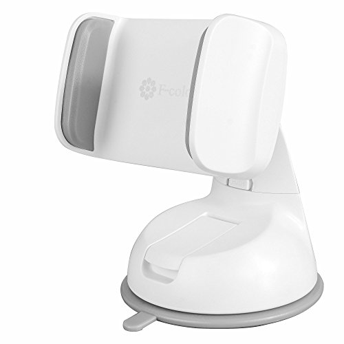 Suction Cup Car Mount, F-color Universal Cell Phone Holder for Car with 360 Degree Swivel Ball Joint for iPhone, Samsung Galaxy / Note, GPS Devices and more Smartphones, Pull Open Design, White+ Grey