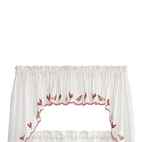 Renaissance Home Fashion Roosters Embroidered Valance, 58
