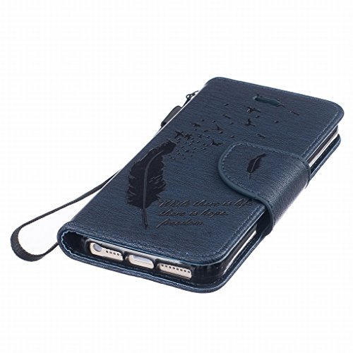 Cover iphone 5s, iphone SE Custodia, Ougger Portafoglio Card Slot PU Pelle Magnetico Stand Silicone Flip Bumper Protettivo Cover Case Custodia per Apple iphone 5s, iphone SE Piuma Blu Scuro