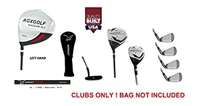 AGXGOLF Men's Left Hand XLT Edition Executive Golf Club Set wDriver Fairway & Utility Clubs + Irons, Wedge & Putter; Cadet, Regular & Tall Lengths; Free Putter! Built IN USA!
