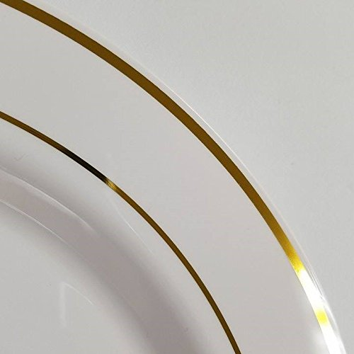 Perfectmaze - Premium Elegant Heavy Duty Round Plastic Plates with Trim for Weddings, Parties, and Special Events (180, 10.5'' w/Gold Trim)