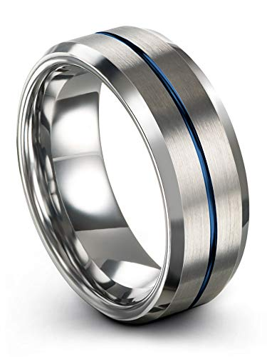 Chroma Color Collection Tungsten Carbide Wedding Band Ring 8mm for Men Women Blue Center Line Grey Interior with Beveled Edge Brushed Polished Comfort Fit Anniversary Size 14