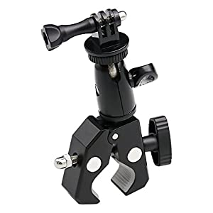 EXSHOW Bike Camera Mount,1/4-20 Thread Motorcycle Metal Holder for GoPro Hero 5,4,3+,3,2,1,Canon,Garmin,Nikon,SONY,CASIO,Kodak and other Cameras