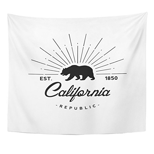 (Emvency Tapestry Bear California Republic Retro Emblem Flag State Vintage Hipster Home Decor Wall Hanging for Living Room Bedroom Dorm 50x60 Inches)