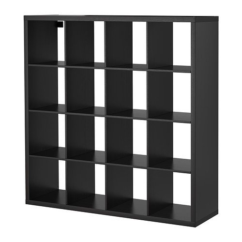 IKEA KALLAX - Shelving unit, black-brown - 147x147 cm