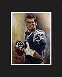 "Tom Brady, Football quarterback, New England Patriots #12. The No. 1 player in NFL top 100 2017. Oil Painting Print 16 X 20"" with black mat. Limited edition with artist signature."