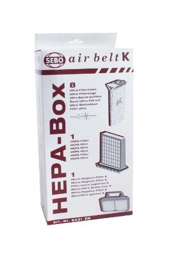 SEBO 6431ER HEPA Service Box for K Series Vacuum with 8 Ultra Bags, Exhaust Filter and HEPA Pre-Motor Microfilter by (Sebo Hepa Vacuum)