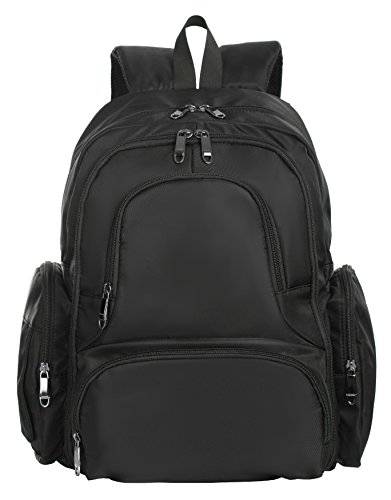 Sleeping Lamb Baby 16 Pockets Waterproof Travel Backpack Diaper Bag, Black