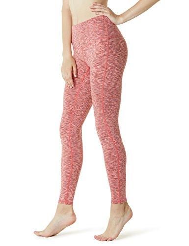 TSLA Yoga Pants Mid-Waist/High-Waist Tummy Control w Side/Hidden Pocket Series, Yogabasic Thick Contour(fyp42) - Spacedyeorange, Small (Size 6-8_Hip37-39 Inch)