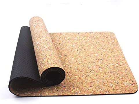 Yoga mat コルクヨガマットノンスリップ天然ゴム183センチメートルX 61センチメートル高い柔軟性5mm厚のヨガマットグリーンフロア演習ポータブルホットヨガピラティスでウェアラブルベルトをアップグレード workout
