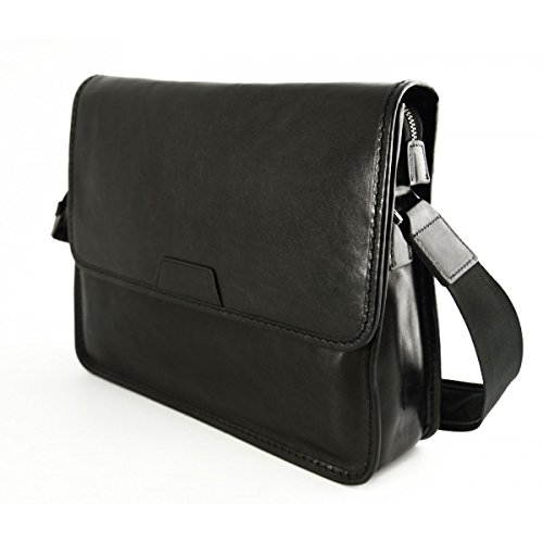 Bolso Messenger En Piel Verdadera, Compartimento Acolchado Color Marrón Oscuro - Peleteria Echa En Italia - Bolso Hombre