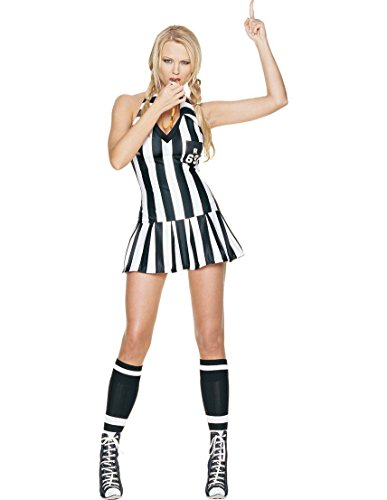 Leg Avenue Women's 3 Piece Referee Costume Includes Whistle And Halter Dress, Black/White, Medium/Large