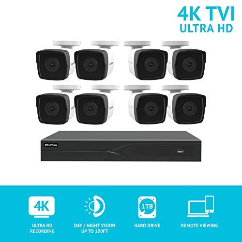 Cheap LaView 8 Channel Ultra HD 4K Home Security Camera System with 8 8MP IP Bullet Cameras, 100ft Night Vision, Weatherproof Expandable Surveillance Camera System DVR 1TB HDD