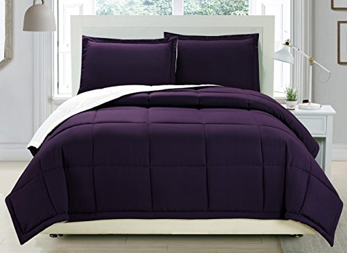 3 piece Luxury Dark Purple / White relatively easy to fix Goose al option Comforter set, King / Cal King together with Corner Tab Duvet Insert