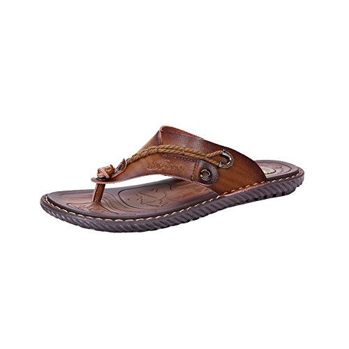 Khaki Rubber Real Leather Sandals Mens Flops amp;W Soles Flip H 64zvPP