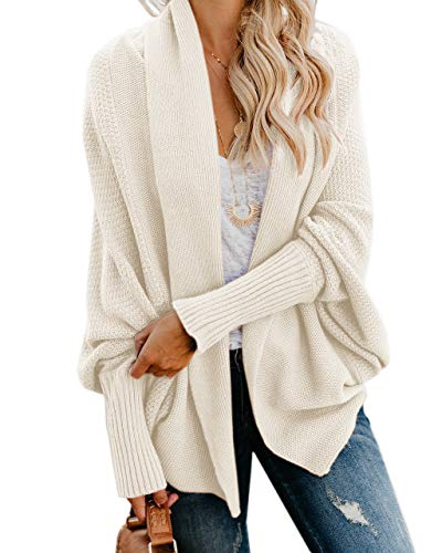 Ybenlow Womens Kimono Open Front Cardigan Sweaters Batwing Sleeve Shawl Collared Oversized Sweater Cloak Outwear White