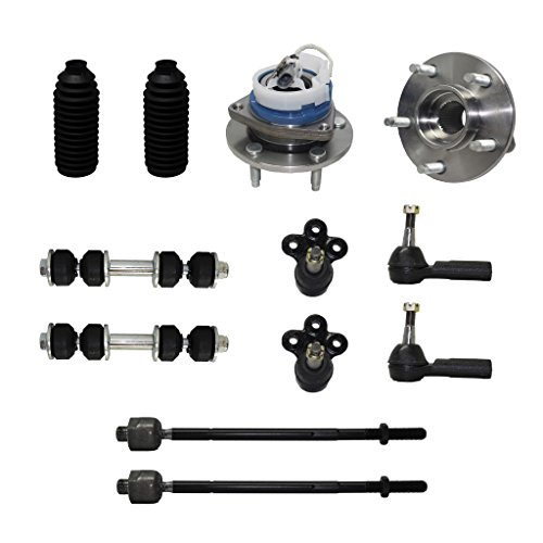 Detroit Axle - New Complete 12-Piece Front Suspension Kit Cadillac & Buick - 10-Year Warranty- 2 Front Wheel Hub & Bearings, 2 Lower Ball Joints, 4 Inner & Outer Tie ()