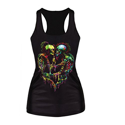 Luck Wang Women's Sexy HD Printed Sleeveless T Shirt Tank Vest Tops(1#) (Sexy Robber)