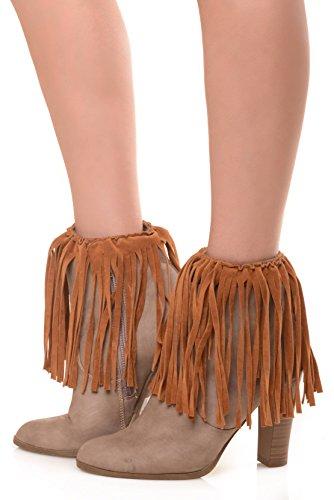 ICONOFLASH Women's Vegan Suede Boot Cuffs, Khaki