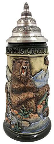 Grizzly Bear Fishing For Salmon Rustic Relief LE German Beer Stein .75 L Germany ()