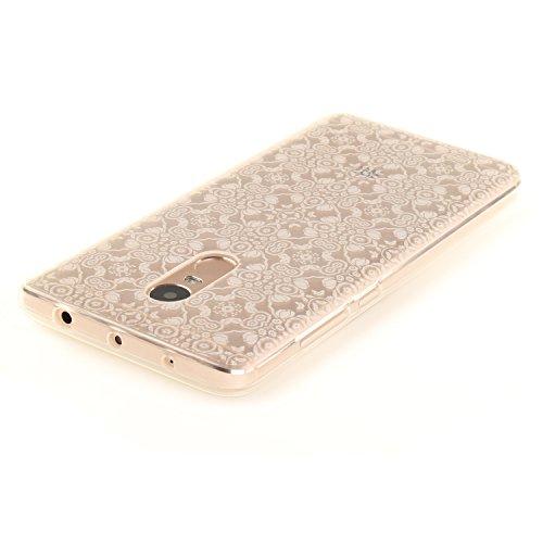 Ecoway TPU Funda Case for Xiaomi Redmi Note 3 , Ultra Thin Carcasa Anti Slip Soft Bumper Scratch Resistant Back Cover Crystal Clear Flexible Silicone Case Parachoques Carcasa Funda Bumper - Campanas d encaje blanco