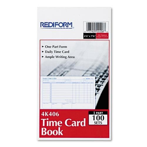 REDIFORM 4K406 Employee Time Card, Daily, Two-Sided, 4-1/4 x 7, 100/Pad