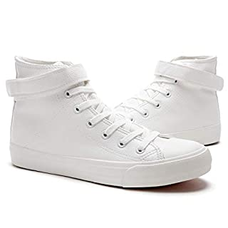 FRACORA White Leather Sneakers High Top Sneakers for Women(White US8)