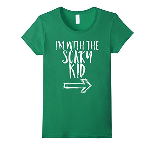 Womens I'm With The Scary Kid Halloween Last Minute Costume Shirt Small Kelly Green