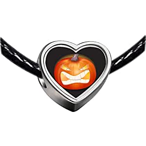Chicforest Silver Plated Halloween Jack O lantern pumpkin face Photo Heart Charm Beads Fits Pandora Charm