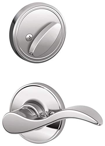 Schlage J Series JH59SEV625LH Interior Active Handleset Trim Seville Bright Chrome Finish with Adjustable Backsets and Radius Strikes