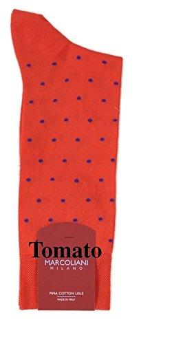 Marcoliani Men's Mid-Calf Mercerized Cotton Fun Dots Dress Socks-1 Pair Tomato Red