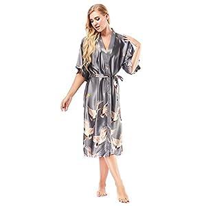 badiJum Women Robes Fashion Long Kimono Robe Lightweight Soft Female Nightgown Sleep Wear Dress
