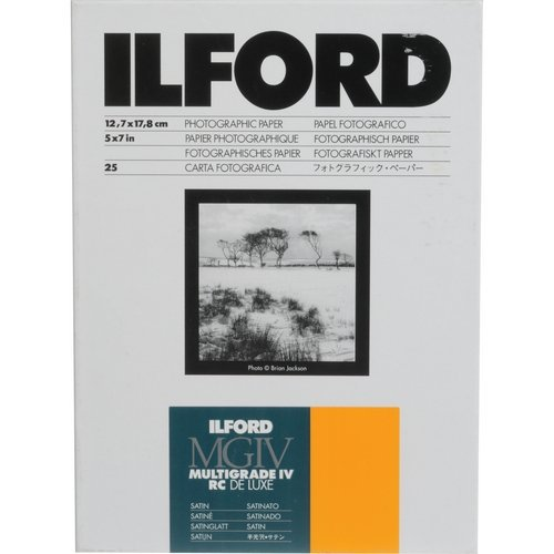 Ilford 1168255 Multigrade IV RC Deluxe Resin Coated VC Variable Contrast Black & White Enlarging Paper - 5x7'' 25 Sheets -Satin