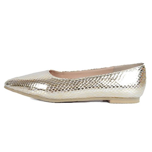 on Gold Causal Womens Office Size Party BFCM Handmade Shoes Large Flats For Kolnoo Slip w8XqOax