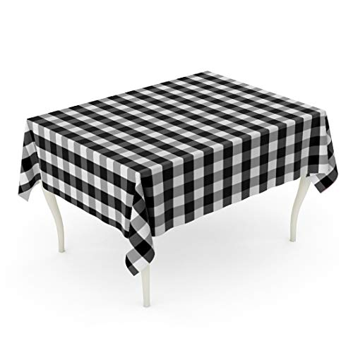 Tarolo Rectangle Tablecloth 52 x 70 Inch Plaid Black and White Buffalo Gingham Pattern Slight Grain Checks Country Fiber Summer Table Cloth