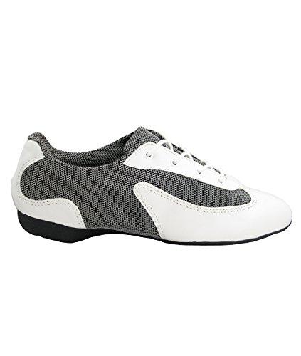 Só Dança DK30 Dance Sneaker Zapatilla de Baile Sintético/Mesh Salsa Hip Lindy Swing Profesional Shuffle Dance Zapatilla suela entera PU blanco/plata