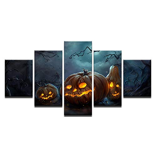 WHdazhuan Canvas Hd Home Decor Poster Wall Art 5 Piece Halloween Pumpkin Lamp Painting Living Room Picture-30X40 30X60 30X80Cm-Framed -