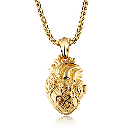 Fate Love Stainless Steel Anatomical Heart Locket Pendant Necklace for Men Women, Silver/Gold/Black