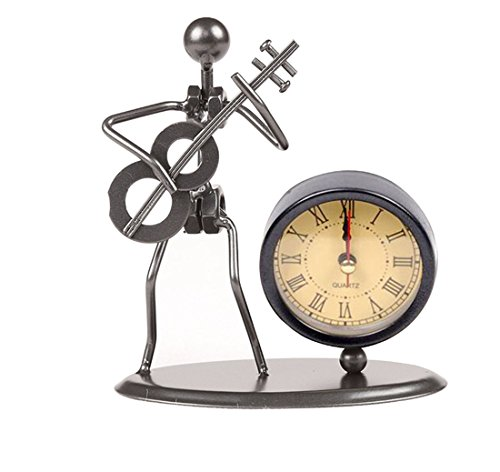 Classic Vintage Old Fashion Iron Art Musician Clock Figure Ornament For Home Office Desk Decoration Gift (C70 Guitar) ()