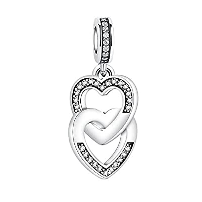 Glamulet Art - Crystal Interlock Heart Dangle Charm -- 925 Sterling Silver by Glamulet