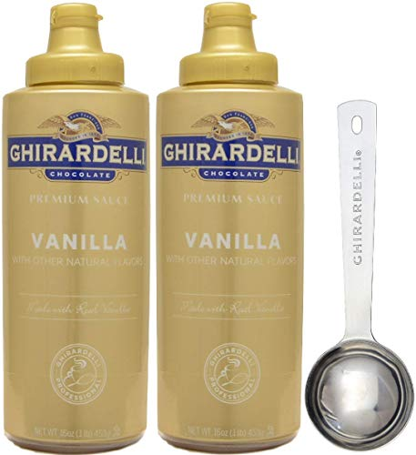 (Ghirardelli - Vanilla Sauce, 16 Ounce Squeeze Bottle (Pack 2) - with Limited Edition Measuring Spoon)