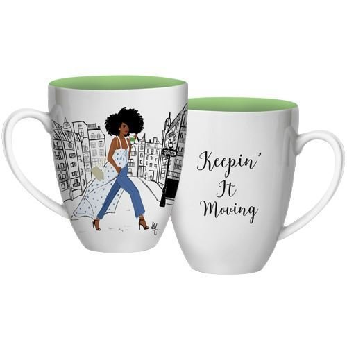 American Mug African (African American Expressions - Keepin' It Moving Coffee Mug, 15 oz Dishwasher & Microwave Safe (4.25
