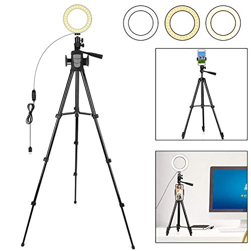 FCNEHLM Ring Light with Stand and Phone Holder - 6.3
