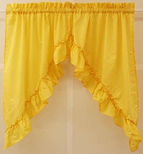 Stacey Solid Swag Pair 60Wx38L Yellow - Yellow Swag Curtains