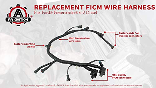 Amazon.com: FICM Engine Fuel Injector Complete Wire Harness ... on 6.0 fan wiring diagram, 6.0 glow plug wiring diagram, 6.0 fuel pump wiring diagram, 6.0 alternator wiring diagram,