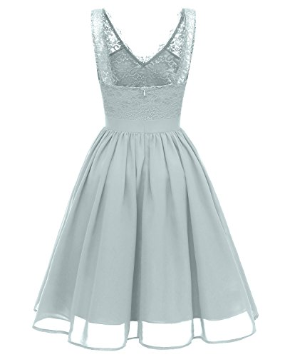 Casual Gray Women's Bridal Gorgeous Floral Lace Blue Contrast Cocktail Dresses Party Evening Vintage Swing FzAAT