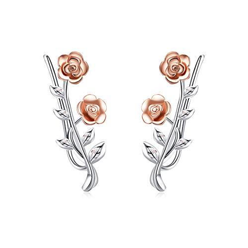LUHE Rose Ear Cuffs Earrings Sterling Silver Rose Flower Ear Crawler Earrings Hypoallergenic Stud Ear Climber Jackets ()