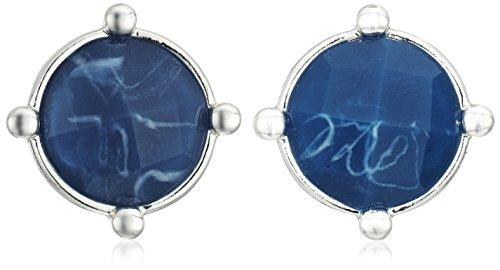 """Napier Color Oasis Blue"""" Silver-Tone/Blue Button Earrings"""